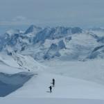 Spectacular ski touring near a base camp in the Yukon